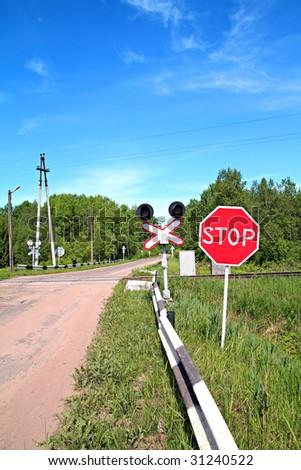 railway crossroad - stock photo