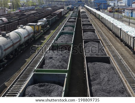 Railway freight trains at the station. Irkutsk region - stock photo
