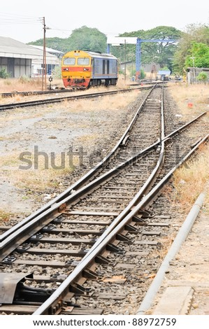 Railway from junction go to the maintenance house in railway yard. - stock photo