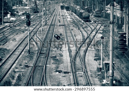 Railway in black and white colors - stock photo