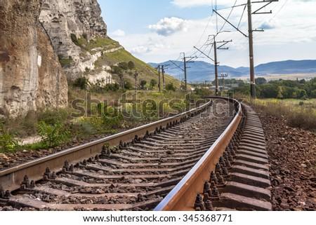 Railway in Crimean mountains, near Inkerman, Ukraine - stock photo