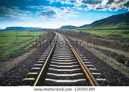 railway in prairie,the construction of railroad background