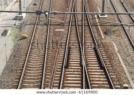 Railway in Rotterdam industrial area - stock photo