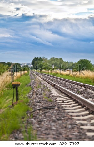 Railway in summer - stock photo
