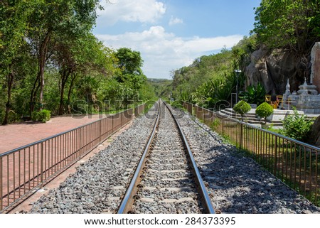 Railway in sunny day, Thailand. It is classical railway. - stock photo