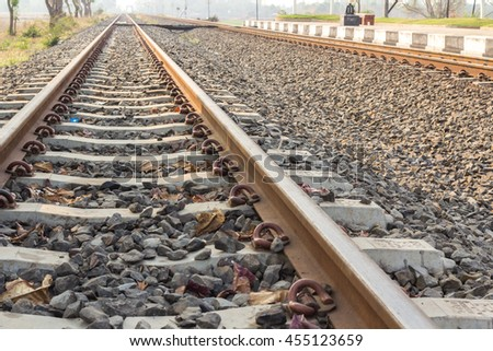 Railway in sunny hot days - stock photo