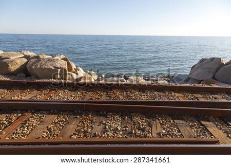 Railway in the coast of Catalonia, Spain - stock photo
