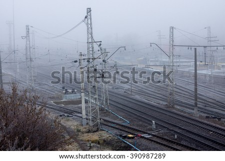 Railway in the cold misty morning