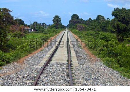Railway in the countryside of Cambodia - stock photo