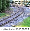 Railway in the forest - stock photo