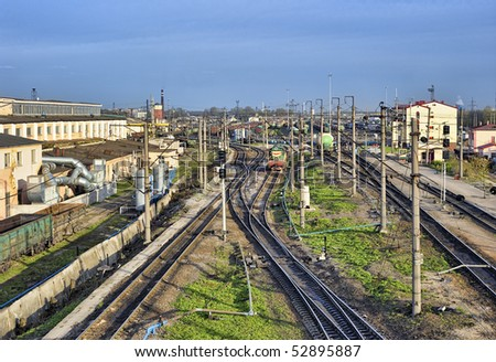 Railway industry in the city - stock photo