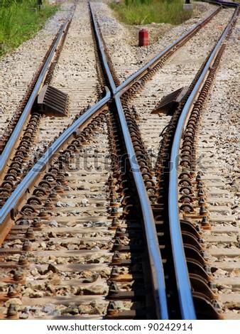 railway junction in vertical - stock photo