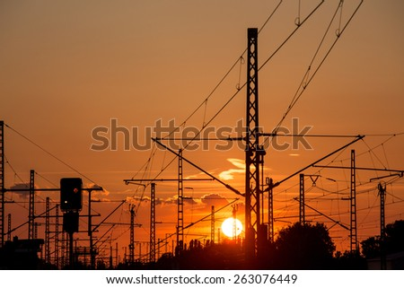 railway landscape sundown