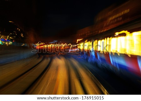 Railway lights at night - stock photo