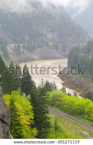 Railway lines at Frazer Canyon, British Columbia, Canada - stock photo