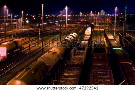 Railway lines at night. - stock photo