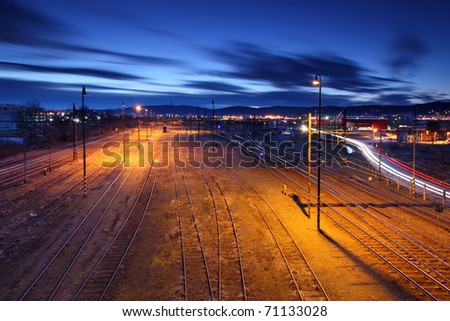 Railway lines at night. - stock photo