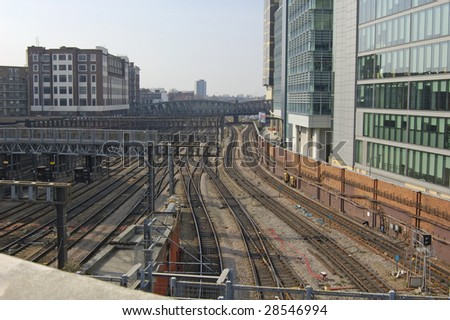 Railway lines into Paddintgon station in London, England - stock photo