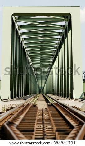 Railway metal bridge perspective view - abstract pictures - stock photo