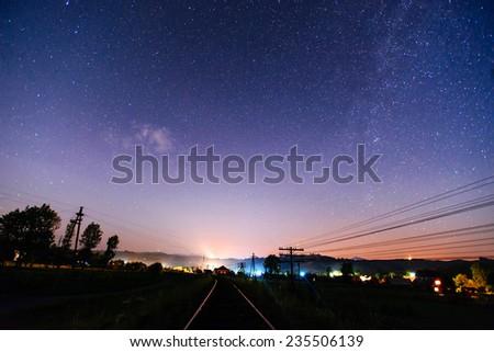 Railway night in Starry Night - stock photo