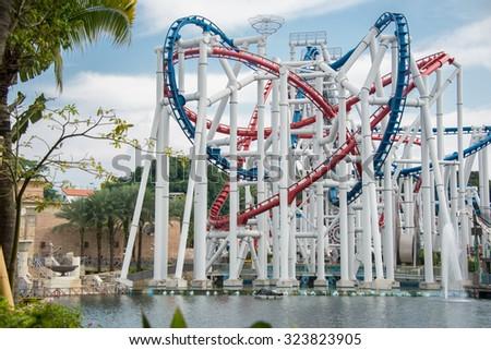 Railway of roller coaster in amusement park - stock photo