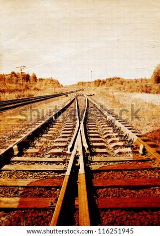 railway on grunge background - stock photo
