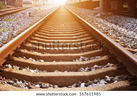 Railway on station, outdoor landscape - stock photo