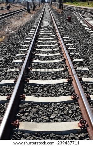 Railway or railroad tracks for train transportation.  - stock photo