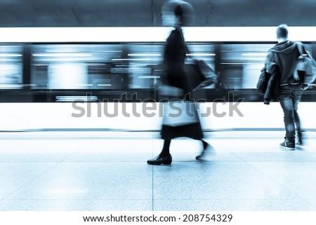 Railway or subway passengers - stock photo