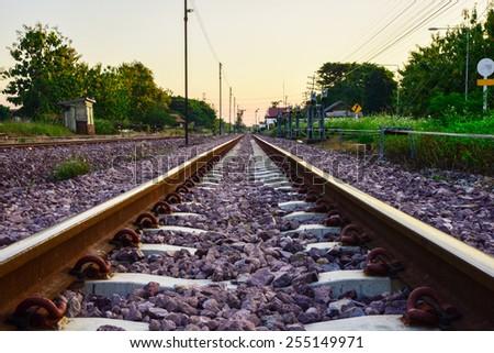 Railway rails - stock photo