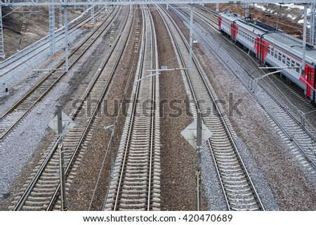 Railway rails - stock photo