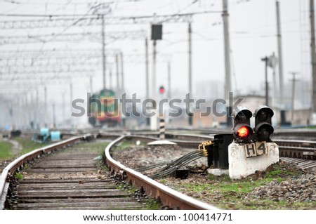Railway red traffic lights. Old railroad - stock photo