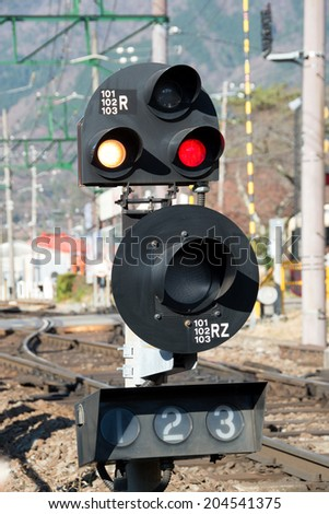 Railway signal for train at Japan. - stock photo