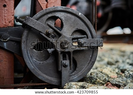 Railway signalling mechanism - stock photo