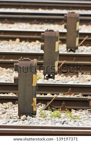 Railway signals on a train station - stock photo