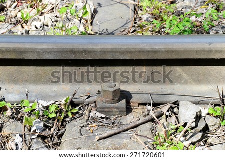 Railway Sleeper with Track and Rail Fastening System - stock photo