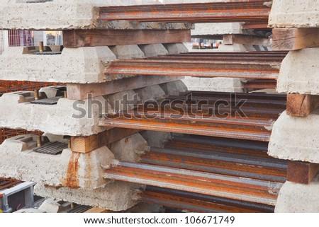 Railway sleepers waiting to be laid. - stock photo