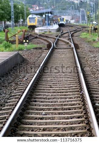 Railway station and railroad - stock photo