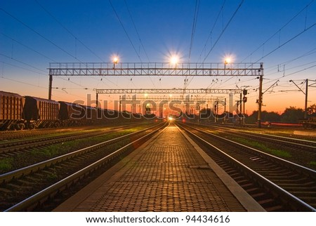 railway station at the morning - stock photo