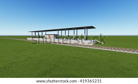 railway station in a green field 3D rendering - stock photo