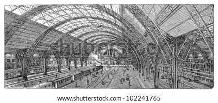 Railway station in Frankfurt (city in Germany) 1883-1888 / vintage illustration from Brockhaus Konversations-Lexikon 1908 - stock photo