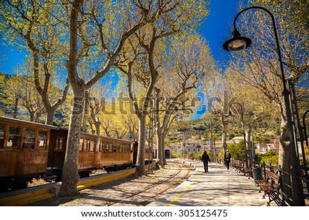railway station in Soller, Mallorca, Spain - stock photo