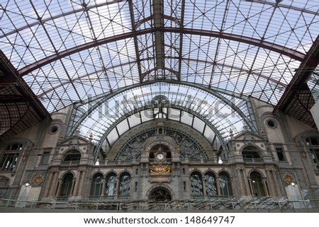 Railway station interior in Antwerpen, Belgium