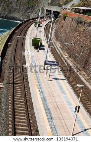 railway station of Manarola in Cinque Terre - stock photo
