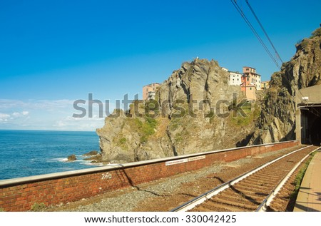 Railway station of Manarola, typical town of Cinque Terre - Italy - stock photo