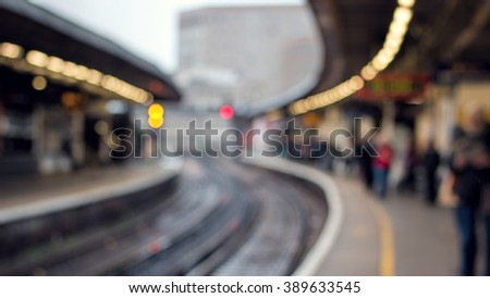 Railway Station Platform And People. Soft Focus Background. City Transport Scene - stock photo