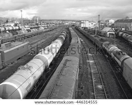 Railway station scene - stock photo