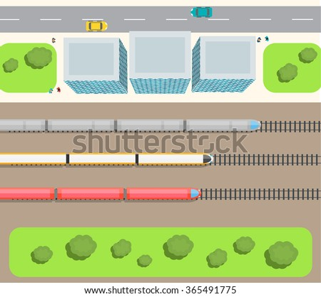 Railway station top view with trains set, buildings, road, cars, people - stock photo
