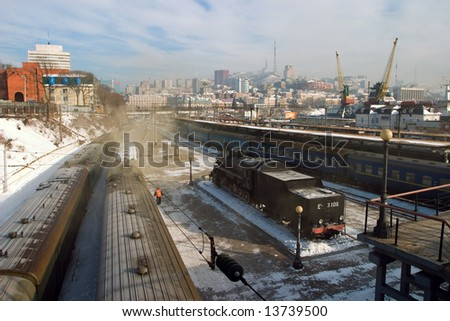 railway station, Vladivostok, Russia - stock photo
