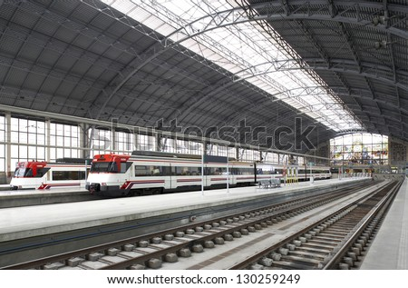 Railway station with platforms and trains horizontal - stock photo